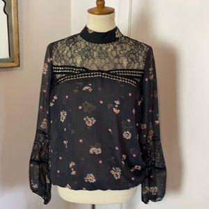 Express Black & Lace Floral Blouse M